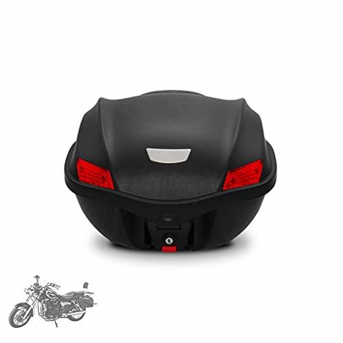HGTRH BaúL Moto 29 litros, Baul Moto con Respaldo, Cofre Moto Universal con Base Incluida Desenganche Rápido, 44.5 * 44 * 29cm, Negro Motocicleta Topcase con Dos Llaves Accesorios