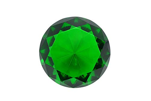 100mm (3.93 inch) Emerald Green Diamond Shaped Jewel Crystal Paperweight by Tripact - 03