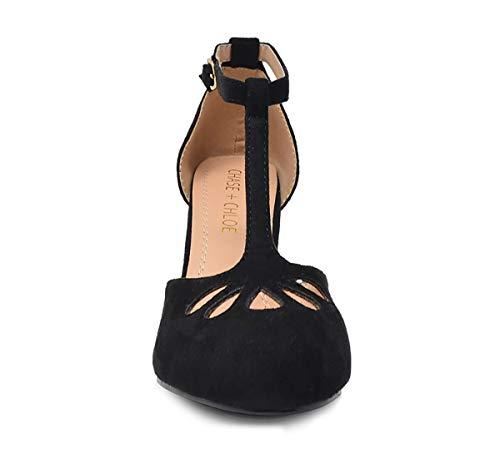 Chase & Chloe Kimmy-36 Women's Teardrop Cut Out T-Strap Mid Heel Dress Pumps (7, Black Nubuck)