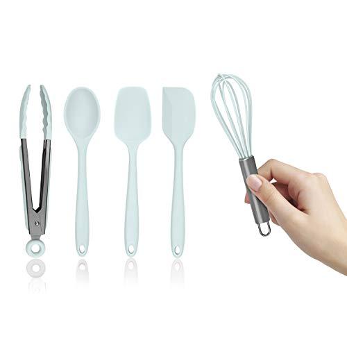 Country Kitchen MINI Set of Five Mint Green and Gunmetal Silicone Kitchen Utensil Set