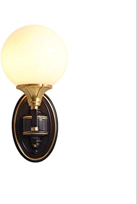 Weiyue Wandlampe- Retro Kupfer Wandleuchte Wohnzimmer Schlafzimmer Bedside Hintergrund Wand Treppenlicht Leuchte (Farbe   schwarz rub Gold-13x31cm)