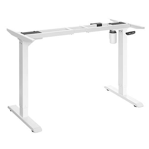 SONGMICS Soporte de escritorio eléctrico, Estructura de mesa de trabajo motorizado, con ajuste continuo de altura, Longitud ajustable, Acero, Blanco LSD010W01