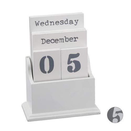 Relaxdays, weiß Dauerkalender Holz, Ewiger Kalender, Holzkalender mit Wochentag, Monat & Datum, A6, dekorativ für Tisch