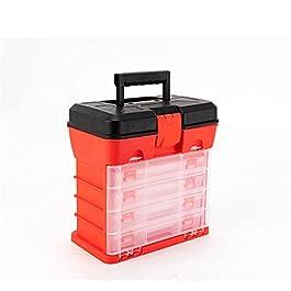 Boîte À Outils Boîte à outils en plastique de 4 couches Boîte de pêche Boîte de pêche Pièces de rangement Boîte de…
