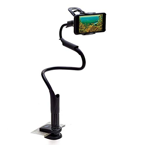 Gooseneck Cell Phone Holder – Use This Long Arm Flexible Phone Holder with clamp Clip to Secure Your Phone on a Desk, Countertop, Bed - Compatible with iPhone 11 Pro Xs Max XR X 8 7 6 Plus