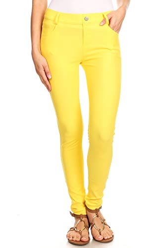 ICONOFLASH Women's Yellow Jeggings with Pockets Pull On Skinny Stretch Colored Jean Leggings Size Large