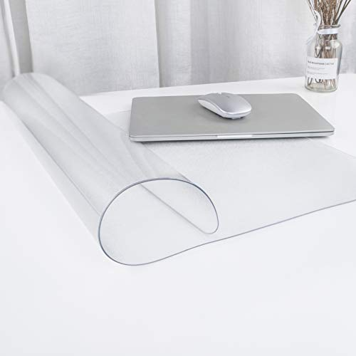 """Oterri Clear Writing Desk Pad, Heat Resistant Waterproof Frosted PVC Round Edge Durable Desk Protector,Anti-Slip Writing Mat-22''x15"""" Desk Blotter"""