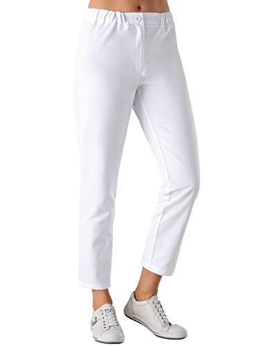 CLINIC DRESS Hose für Damen 7/8 Länge lässige Beinweite Teilgummibund 2 Gesäßtaschen 95° Wäsche weiß 38