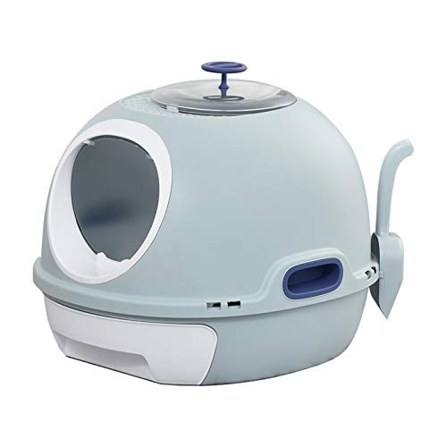 PawHut Cat Litter Box Toilet With Litter Scoop Enclosed Drawer Skylight...
