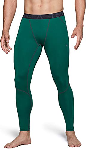 TSLA Men's UPF 50+ Compression Pants, UV/SPF Running Tights, Workout Leggings, Cool Dry Yoga Gym Clothes, Active(mup39) - Green, Large