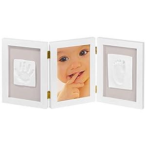My Sweet Memories ES Photo Frame + 2 Baby Print - Marco triple para foto y 2 huellas de bebé, color blanco