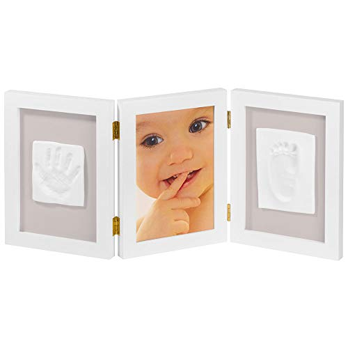 Imagen para My Sweet Memories ES Photo Frame + 2 Baby Print - Marco triple para foto y 2 huellas de bebé, color blanco