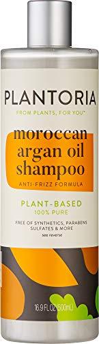 Plantoria Moroccan Argan Oil Shampoo | Plant Based Pure Vegan Organic Anti Dandruff & Frizz Hair Products for Women, Men, Teens, Kids | Natural Hair Shampoo With Coconut, Argan, Jojoba, Vitamin E