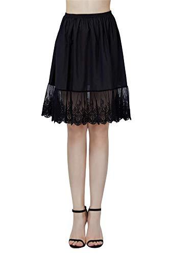 BEAUTELICATE Damen Unterrock 100% Baumwolle Vintage Kurz Halbrock Mit Spitze Stickerei Knielang Dirndl Petticoat, Schwarz, M Für EUR (40-42)-60cm Länge