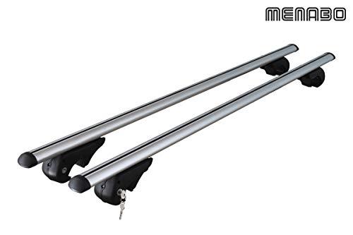 MENABO - Barre portatutto Dozer XXL da 150x 5cm, per Veicoli con binari Aperti integrati sul Tetto e funzionalità T-Track, carico Massimo 90kg
