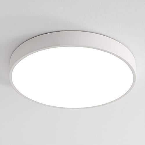 18W LED Deckenleuchte Deckenlampe, Ultraslim Ø30x5cm Warmweiß 3000K | Moderne Leuchte für Küche Diele Flur Kinderzimmer (Weiß) [Energieklasse A+]