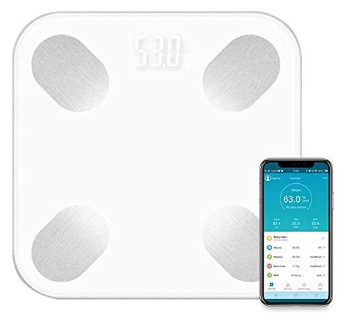 M3 Decorium Bluetooth Smart Bathroom Scales 180kg / 400 Lbs Escala de Grasa Corporal KG/LB/ST Unidad CONVERSIÓN COMPOSICIÓN COMPUTALIZADOR (Color : White)