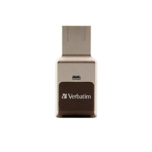 VERBATIM Fingerprint Secure USB-Stick I USB-3.2 Gen 1 I 128GB I Speicherstick mit Fingerabdruck-Erkennung & Verschlüsselung I USB-3 I externer Speicher für Laptop Notebook & Co I braun/gold