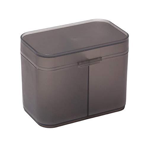 N/A/a Soporte de bastoncillos de algodón Organizador de plástico Caja de Almacenamiento de uñas Accesorios cosméticos para Dormitorio Baño - Gris