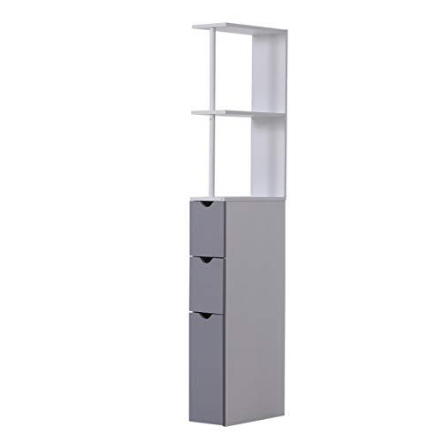 HomCom Armario Alto de Baño con 2 Estantes 1 Puerta y 2 Cajones - Color Blanco - 15x33x136cm