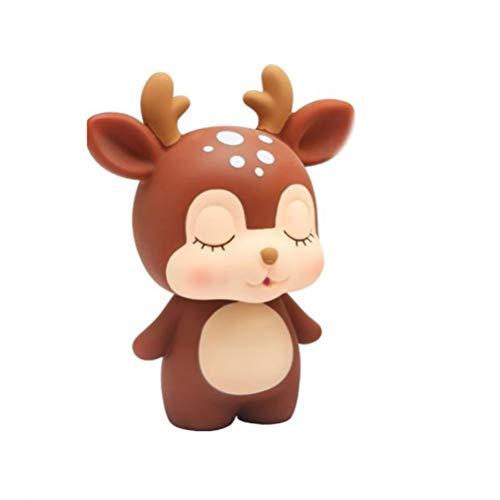 TOYANDONA 1Pcs Lindo Ciervo Banco de Monedas de Dibujos Animados Animal Hucha Caja de Dinero para Niños Niño Y Niña Mejor Regalo de Cumpleaños de Navidad (Café)