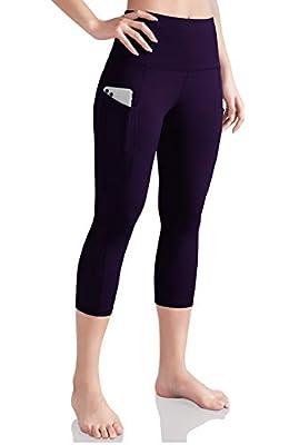 ODODOS Women's High Waist Yoga Capris with Pockets,Tummy Control,Workout Capris Running 4 Way Stretch Yoga Leggings with Pockets,DeepPurple,XX-Large