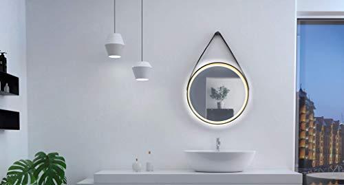 Talos Golden Summer-Espejo de diseño diámetro, Marco de Aluminio Macizo, iluminación LED, Color Blanco Neutro, Lichtfarbe Neutralweiß, Ø 55 cm