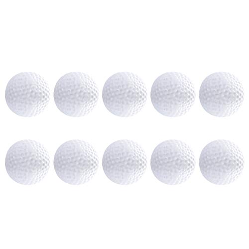 NUOBESTY 10pcs Plastic Golf Training Balls Airflow Hollow Impact Golf Balls Kids Ball Toy for Driving Range Swing Practice Home (White)