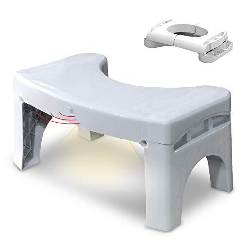 VOUNOT Medizinischer Toilettenhocker, Squatty Potty mit Bewegungssensor Licht, gegen Hämorrhoiden, Verstopfung, Reizdarm, Blähungen, Blähbauch, für Gesunde Darmflora