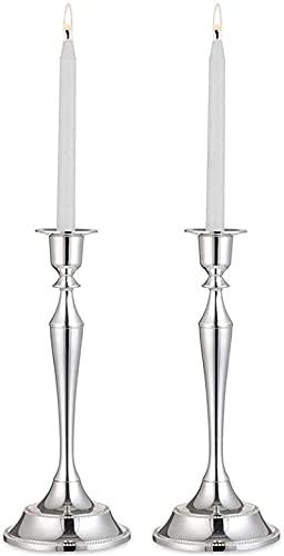 2 portavelas de metal con forma cónica, soporte para velas, soporte para velas, soporte para mesas, decoración de Navidad para el hogar, decoración de Navidad (plata)