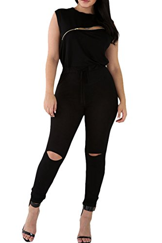 Womens Casual Sleeveless Broken Hole Tie Waist Pants Jumpsuit Romper L Black