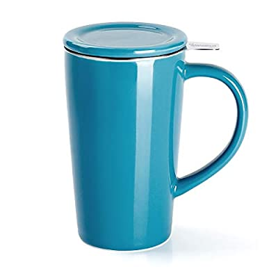 Sweese 202.107 Porcelain Tea Mug with Infuser and Lid, Ceramic Coffee Cocoa Cup Set for One, Taller and Large, 18 OZ, Steel Blue
