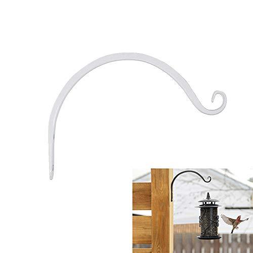 Wankd Weiße Wandhaken, 1PCS Metall Haken Wand Wandhalterungen aus Schmiedeeisen, Hängekorbständer für Vogelfutterhäuschen/Pflanzen/Laternen/Windspiele (mit Schrauben)