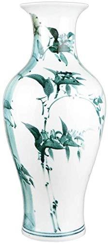 HongLianRiven Vaso di Ceramica Bianco della Decorazione della casa falsificazione Fiore Pittura Green Plant Flower Pot Fiori secchi Composizione di Fiori Fiore 17 * 37 * 11cm 10-26 (Color : B)