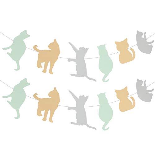 VALICLUD 2 Piezas de Bandera de Cumpleaños de Gato Guirnalda de Cumpleaños de Mascota Guirnalda de Tema de Gato Decoración Del Empavesado Fiesta de Ducha de Bebé Suministros para Fiestas