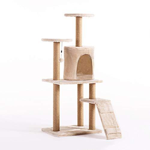 LSYOA Multi-Level Krabpaal voor katten, kattenboom, kattentoren met henneptouw, krabpaal voor katten, huisdieren, platform game-house, voor katten, kleine dieren