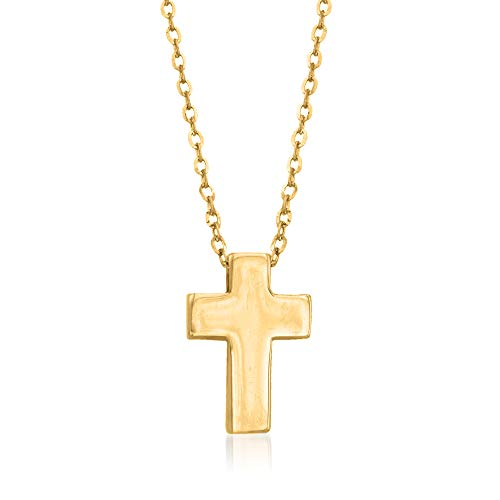 Ross-Simons 14kt Yellow Gold Cross Pendant Necklace. 16 inches