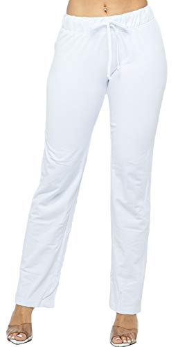 WINESTER & COMPANY Women's Sweatpants - Casual French Terry Elastic Waistband Workout Long Sports Yoga Lounge Pants FT9000 White M