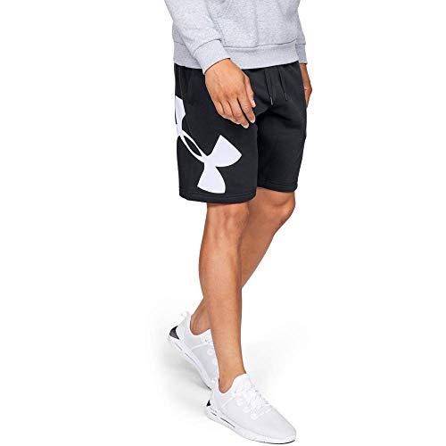 Under Armour Rival Fleece Logo Pantalones Cortos para Hombre, cómodos y robustos Pantalones para Correr, Ancho pantalón Corto con Bolsillos Laterales, Black/White (001), XL
