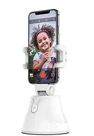XOELVA Smart Phone estabilizador pan/Tilt, seguimiento automático Smart Shooting Phone Holder 360 Giratorio Teléfono inteligente automático de seguimiento de la cara (blanco)