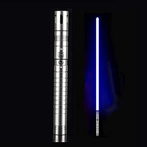 gengyouyuan Luminoso efecto de sonido de juguete espada niños adultos sable de luz apoyos de metal espada Rgb SilverGrayHandle y BlueLight