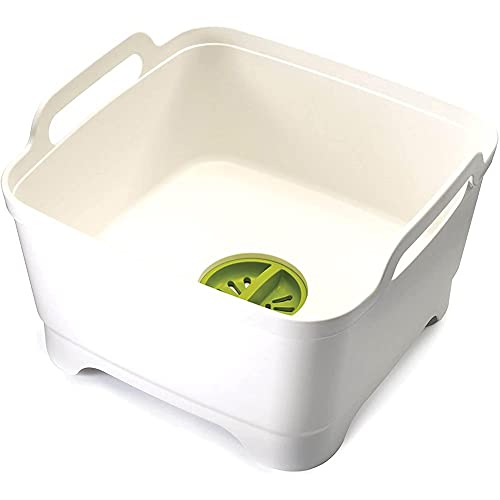 Batchelo Lavabo para platos con tapón de drenaje y asas de transporte, portátil, para camping, cocina, lavado de platos, blanco y verde