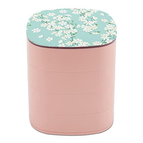 Rotar la caja de joyería, caja de almacenamiento de joyas de 4 capas, rotación de 360 grados, caja creativa para anillos, pendientes, collar, broche, baratijas, patrón de flor de cerezo