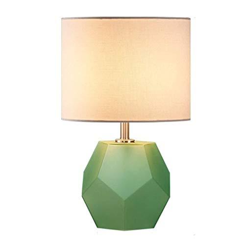 FHW Lámpara de mesa decorativa plaza Mesita de luz de la lámpara, retro pantalla de la tela de noche lámpara de escritorio for el dormitorio de la sala de lectura Oficina de luz LED E27 Lámparas de es