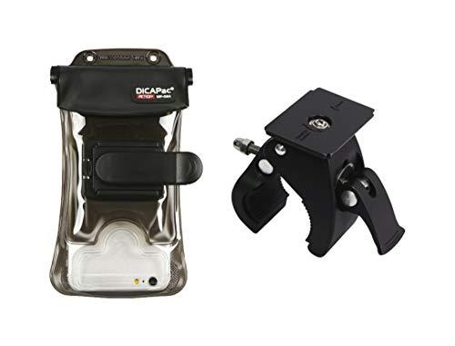 DiCAPac Action Blackberry Aurora/Blackberry Motion - Fahrrad und Motorrad Handyhalter/Lenkrad-Handyhalterung + Große Handyhülle - Wasserdicht bis 10m/GoPro komp./abnehmbar/360° Drehbar - Schwarz