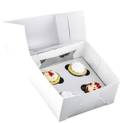Pro-Quality Bakery Boxes for 4 Cupcakes with Display Window & Cupcake Inserts 10 Pack. Each 10x10x4in USA Made, Bright White Box Showcases Your Cup Cakes. Easily Customized Carrier for Bake Sales! by Avant Grub