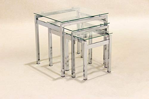 Epsom Nest of Tables Chrome/Glass JOA261, Nesting Tables, Side Tables, End Tables 510W x 440D x 500H, Living Room Furniture