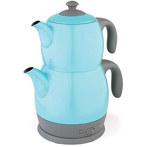 King Edelstahl Teemaschine Teemaker Wasserkocher Lea P315M 2 in 1 – Tee und Wasserkocher (Hellblau)