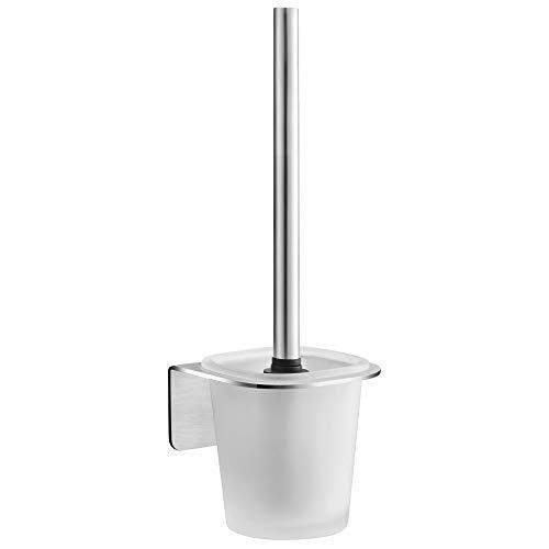 WEISSENSTEIN Toilettenbürstenhalter Set zur Wandmontage ohne Bohren - WC-Ganitur Set mit Bürste, Bürstenhalter aus Glas, Edelstahl Halterung zum kleben