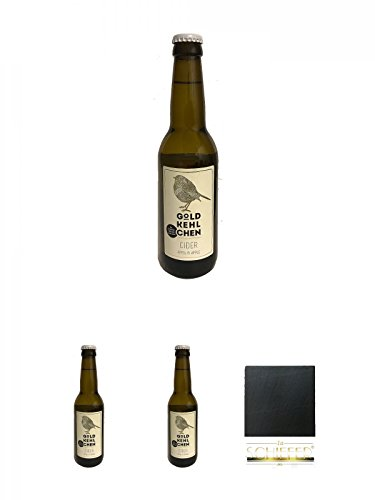 Goldkehlchen Cider Apfel (Vegan) + Goldkehlchen Cider Apfel (Vegan) + Goldkehlchen Cider Apfel (Vegan) + Schiefer Glasuntersetzer eckig ca. 9,5 cm Durchmesser
